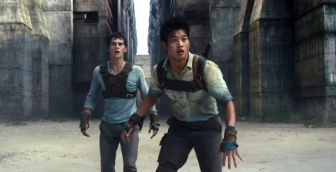 Dylan O'Brien & Ki Hong Lee in The Maze Runner