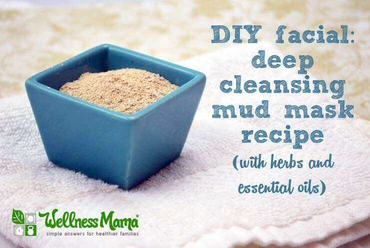 Deep cleansing mud mask facial recipe with herbs and essential oils