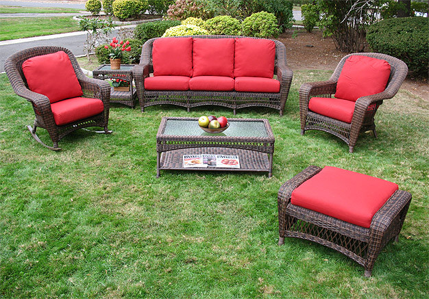 6 piece palm springs resin wicker furniture set sofa chair ottoman rocker cocktail end table