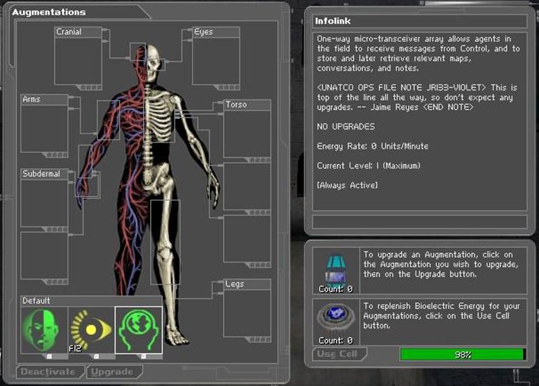 Deus ExAugmentations  StrategyWiki the video game