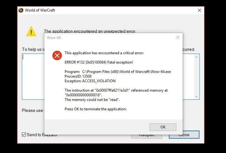 Fix World of Warcraft error 132 0x85100084 Fatal exception