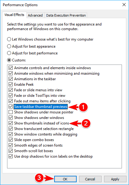 performance options window some thumbnails not showing windows 10
