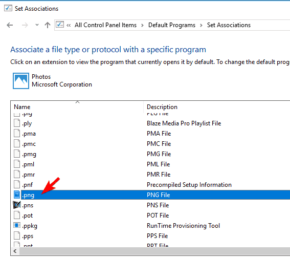 associate a file type or protocol with a specific application some thumbnails not showing windows 10