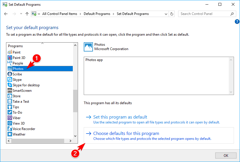 choose defaults for this program some thumbnails not showing windows 10