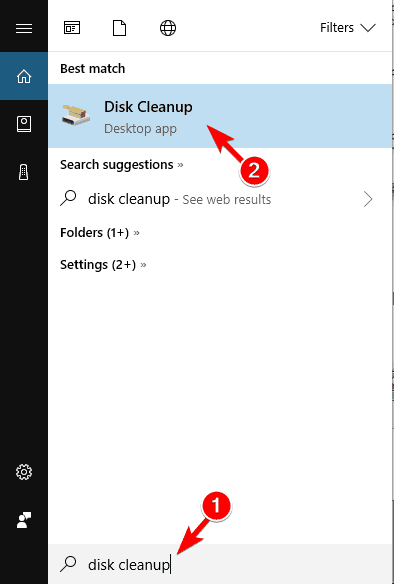 disk cleanup search results png thumbnails not showing windows 10