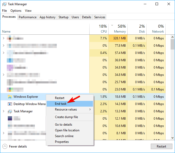 task manager end task png thumbnails not showing windows 10