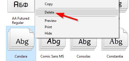 Windows font not showing delete font