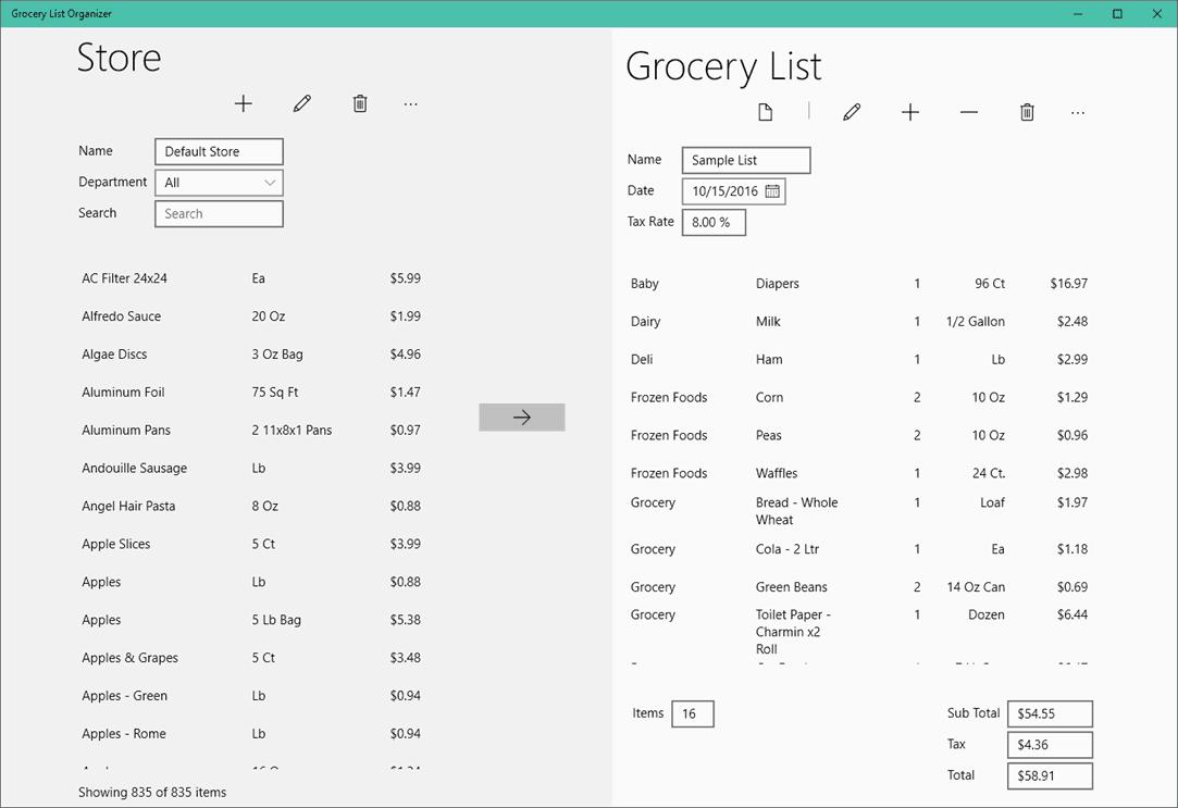 Shared Grocery List App
