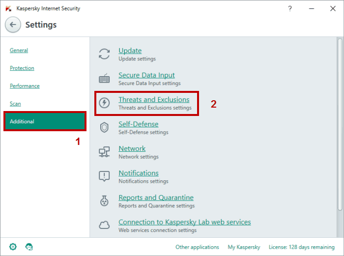 add exclusion kaspersky