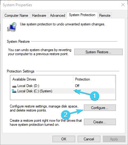 windows 10 can't find restore point