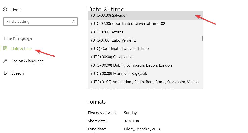 change time zone windows 10