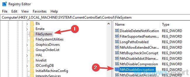 folder encrypt grayed out registry
