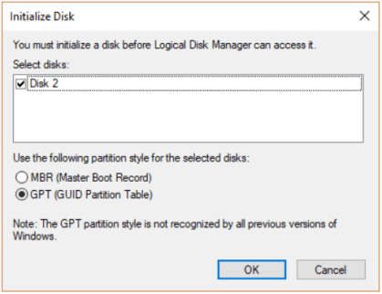 cannot initalize disk
