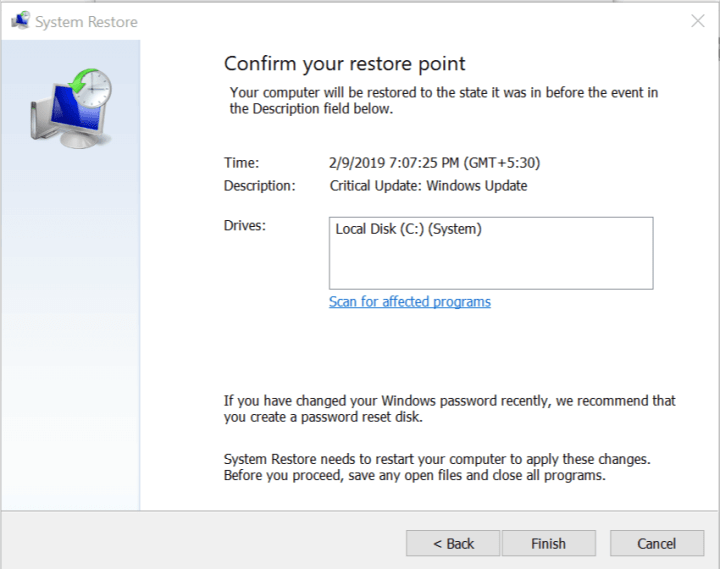 Confirm your System Restore point