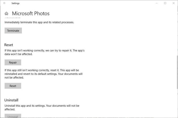 repair microsoft photos printing problems