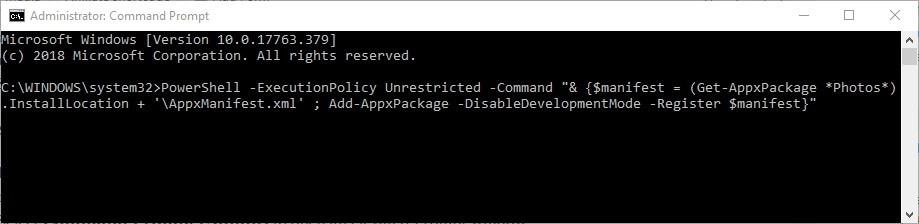 command prompt photos app crashes
