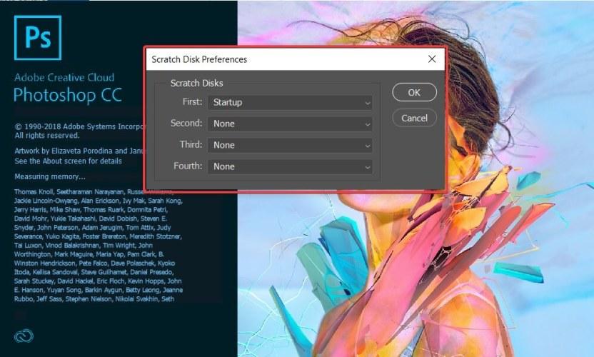photoshop won't launch scratch disk error