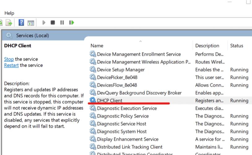 DHCP Client Service Set Automatic