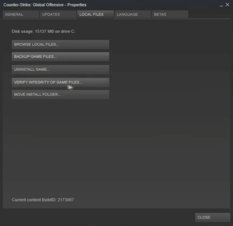 Verify Integrity option counter strike not connecting to server