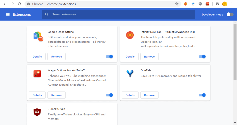 Chrome's extensions tab you don't have permission to access on this server