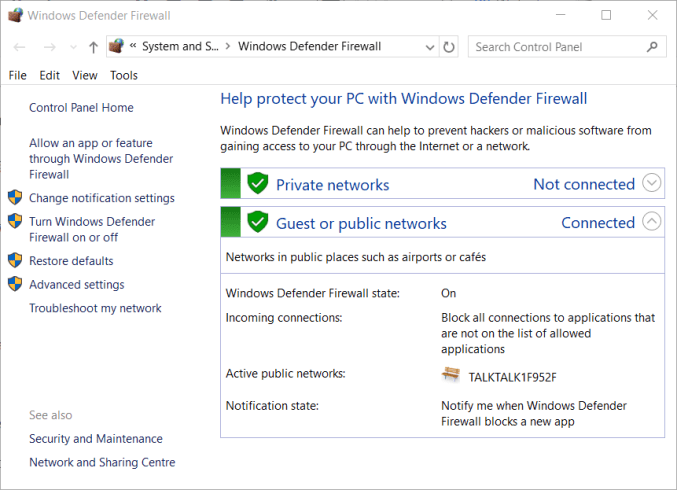 Windows Defender Firewall applet Io netty channel abstractchannel AnnotatedConnectException: Connection timed out fix