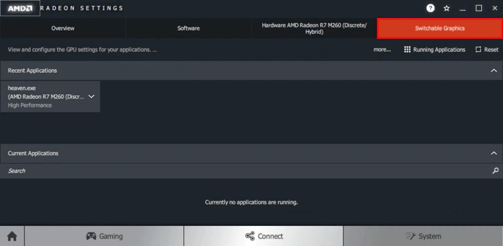 Switchable Graphics tab