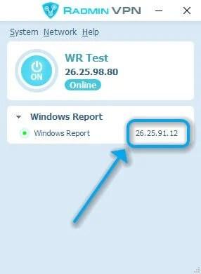 Host IP Radmin VPN