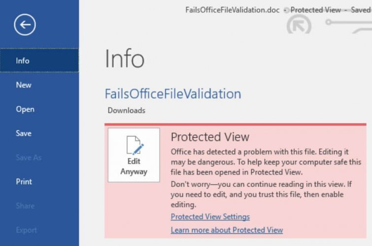 Disable Protected View Office detected a problem with this file