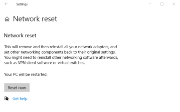 Reset now button reset network settings windows 10