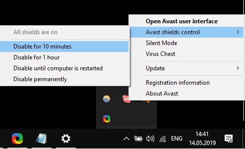 Disable settings for Avast Antivirus windows update code 800b0100