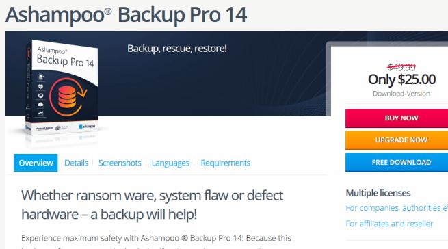 Ashampoo Backup Pro automatic backup software