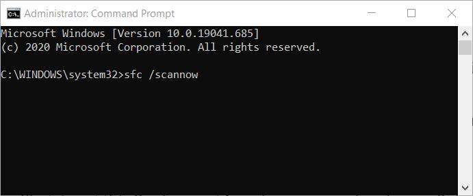 The SFC command windows update code 800b0100