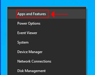 access Apps and Features in Windows 10