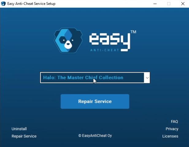 Easy Anti-Cheat Service Setup window halo mcc error invalid game executable