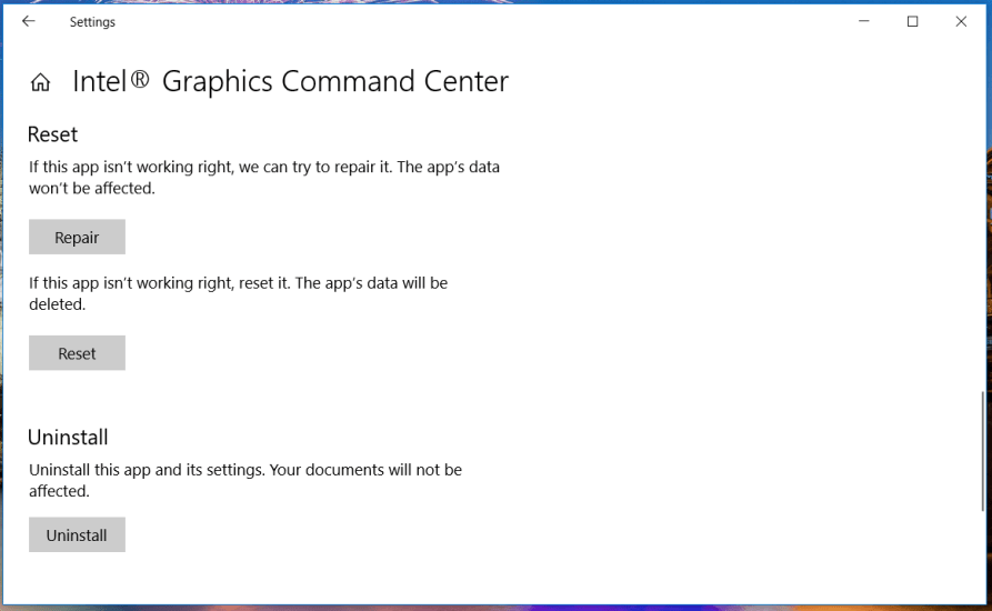 The Repair option intel graphics control panel not opening