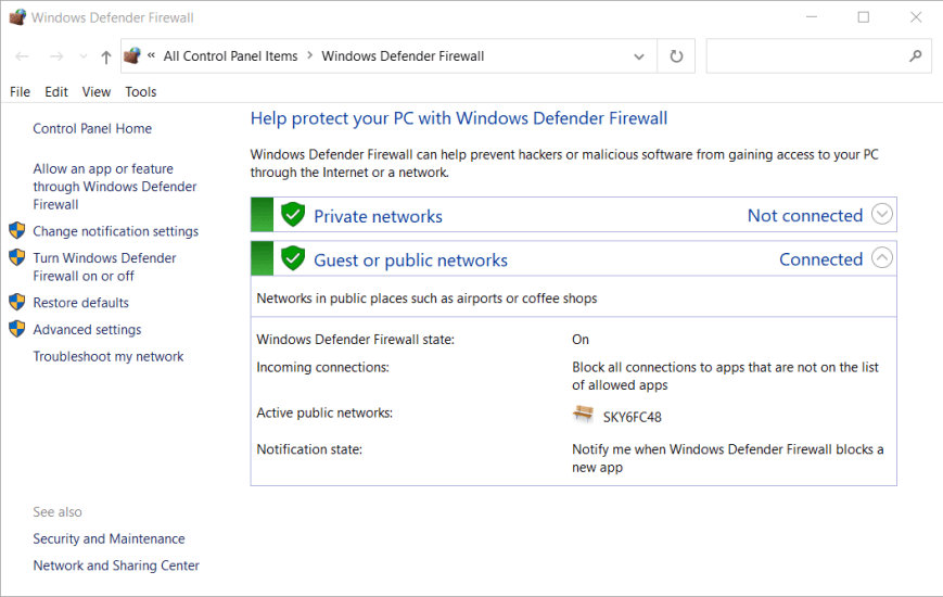 The Windows Defender Firewall forza horizon 4 this app can't open