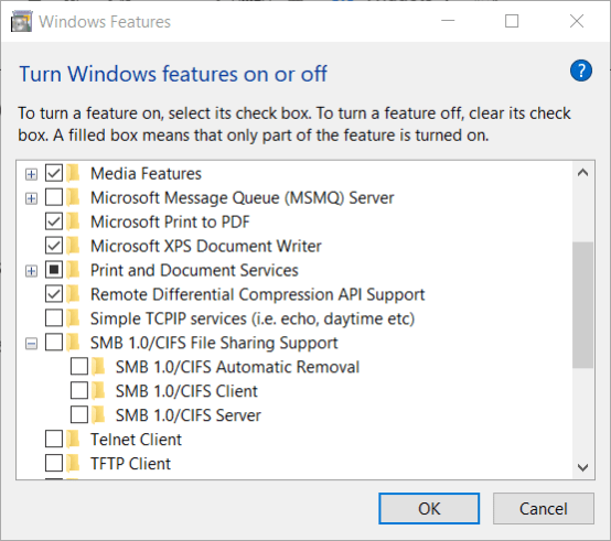 Windows Features window windows cannot access readyshare