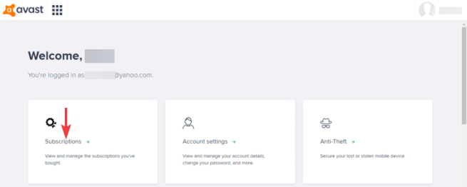 Avast SecureLine account shows Subscriptions