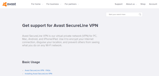 Avast SecureLine shows customer support