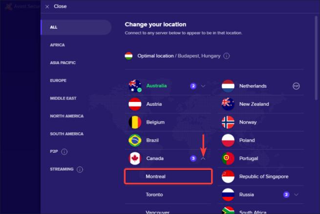 Avast SecureLine shows select server