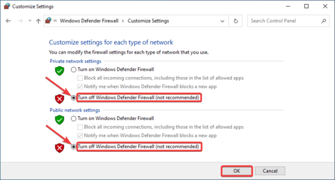 Customize Settings shows Turn off Windows Defender Firewall (not recommended)