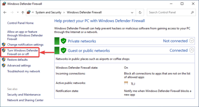 Windows Firewall shows Turn Windows Defender Firewall on or off