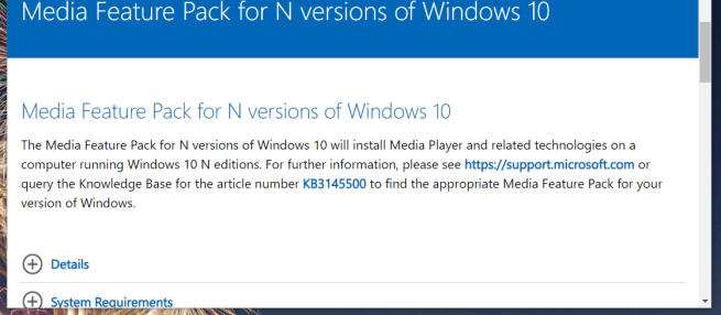 Media Feature Pack download page can't install windows media feature pack