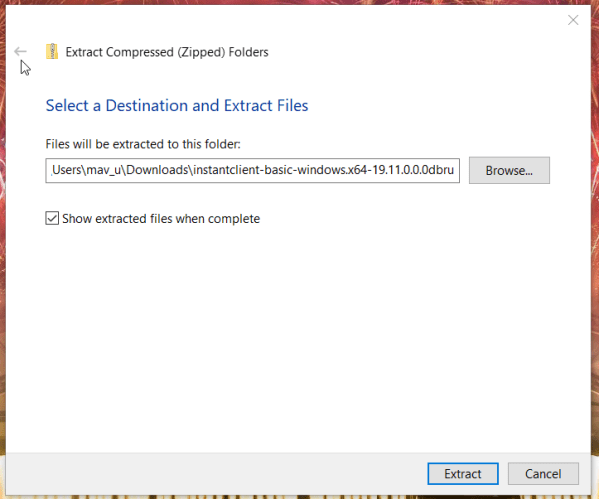 The Extract Compressed folders window install oracle odbc driver windows 10