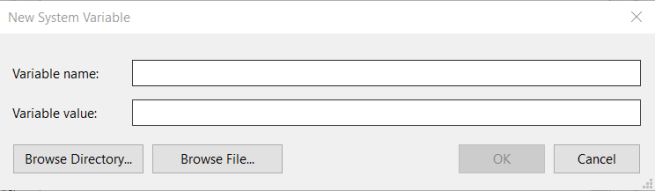 New System Variable window install oracle odbc driver windows 10