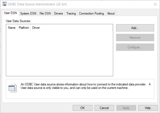 ODBC Data Source Administrator window install oracle odbc driver windows 10