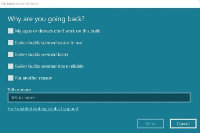 Microsoft rollback process