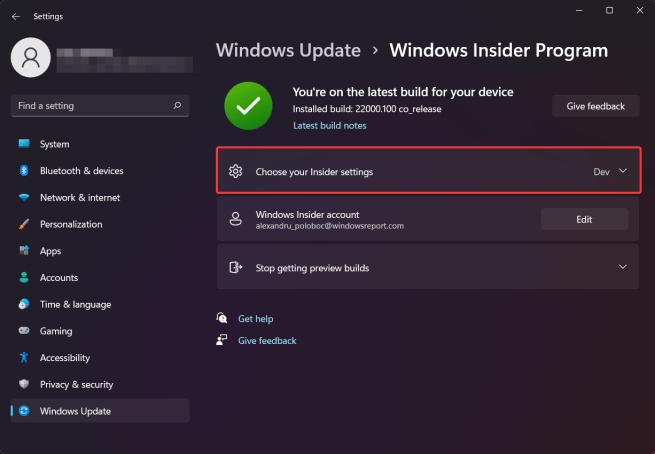choose insider settings