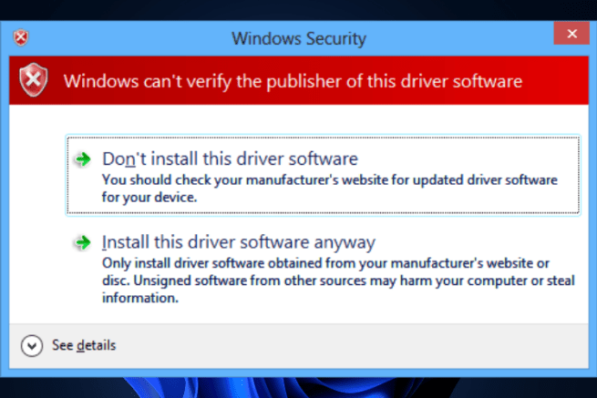 Don't install this driver software