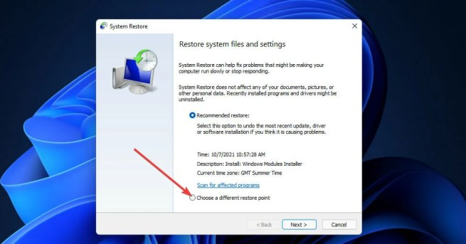 The Choose a different restore point option windows 11 search indexing was turned off
